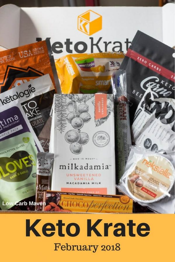 Keto Krate contents keto snacks in subscription box. #ketokrate #ketosnacks #lowcarbsnacks