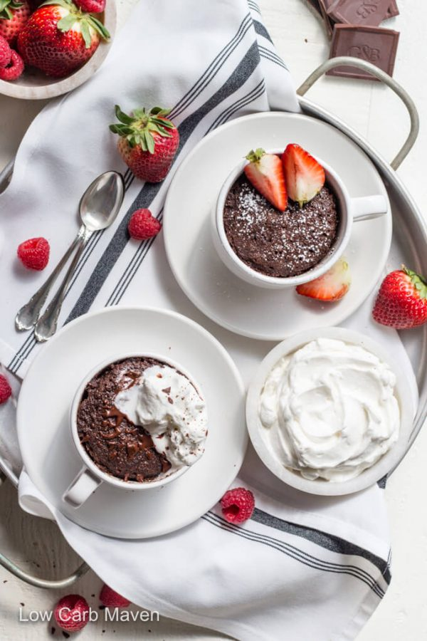 This keto chocolate mug cake makes the BEST low carb dessert. #lowcarb #keto #chocolate #mugcake #cakeinacup #minicake