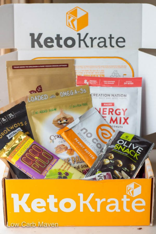 Keto Krate subscription box with products.