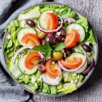 Traditional Greek salad recipe with Greek vinaigrette dressing.