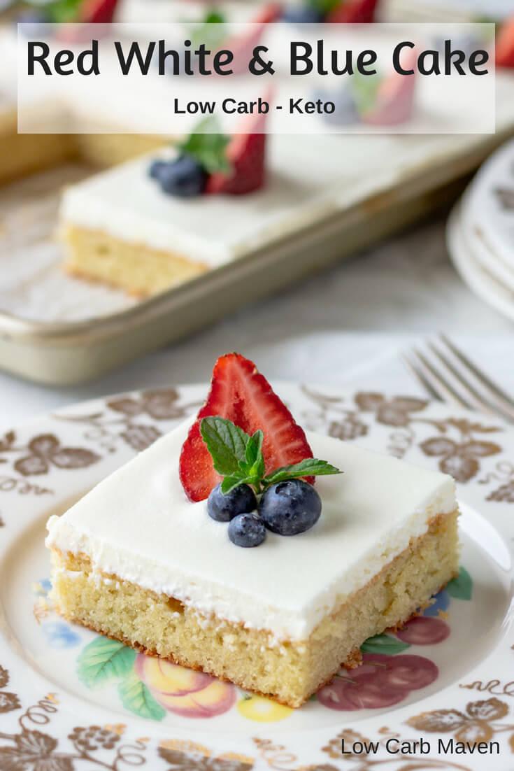 Festive Sour Cream Cake #sponsored #redwhiteandblue #desserts #lowcarb #keto #sugarfree #glutenfree #sourcream #almondflour #cake #creamcheesefrosting