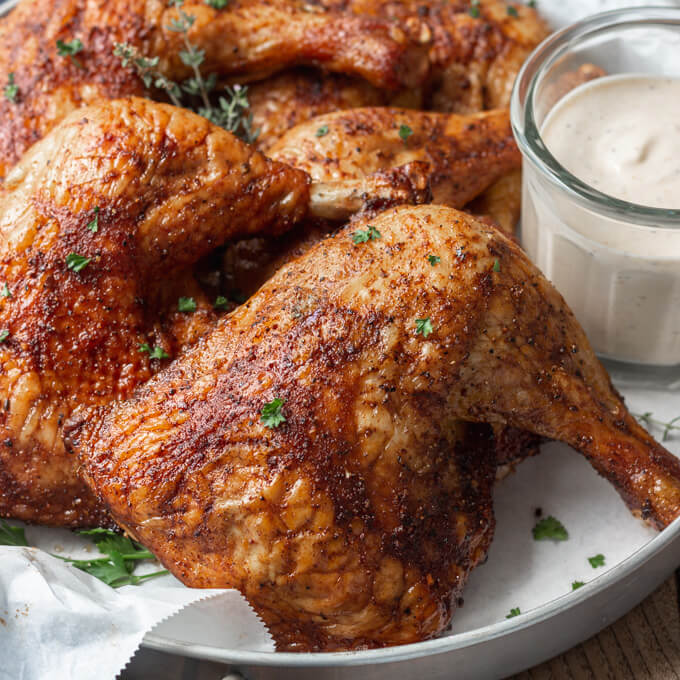 Juicy Smoked Chicken Leg Quarters Low Carb Maven