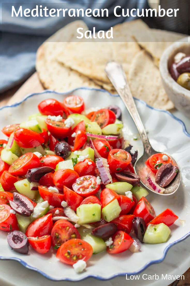 Mediterranean Cucumber Salad (Tomato and Cucumber Salad) with Kalamata olives, red onion, and feta cheese. #mediterranean #salad #tomato #cucumber #fetacheese #lowcarb #keto