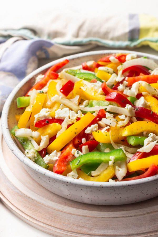Refreshing Sweet Bell Pepper Salad #bellpepper #recipes #healthy #salad #lowcarb #keto #summer #feta