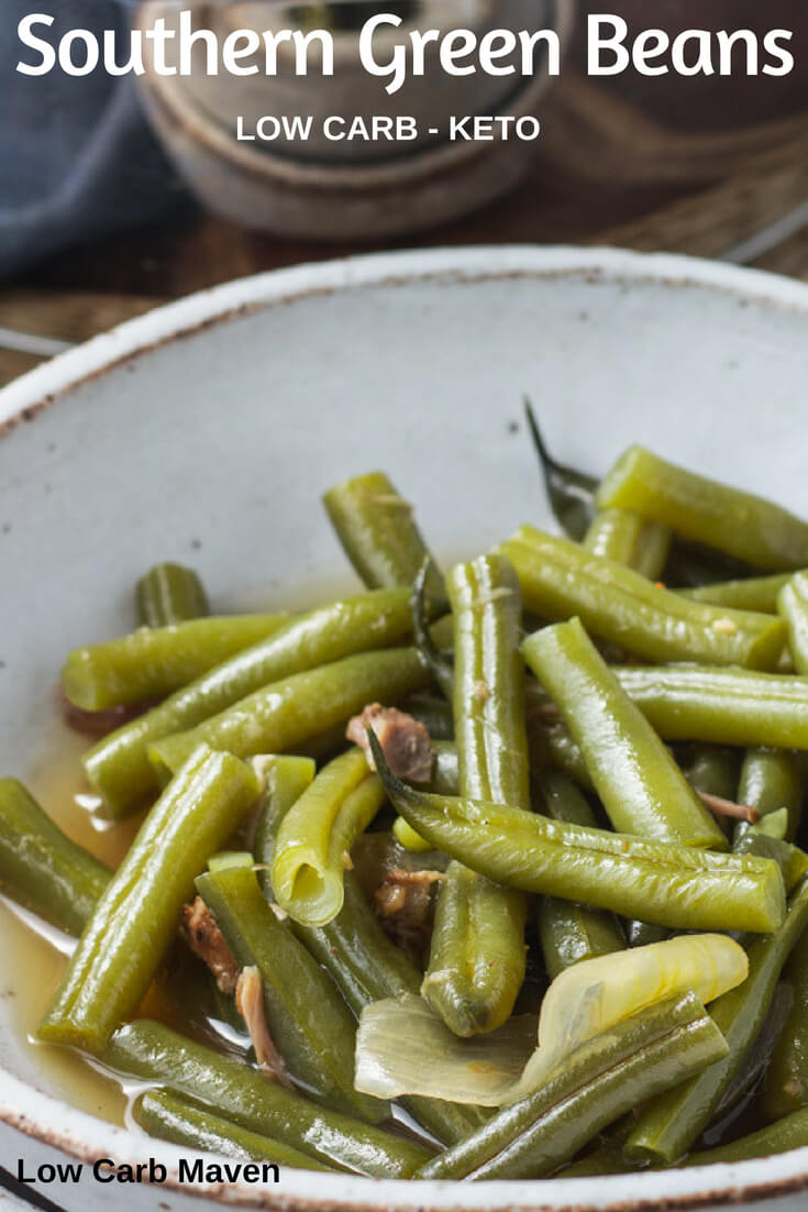Southern green beans are full of flavor and a comfort food staple. #southerngreenbeans #southern #greenbeans #bacon #onions #lowcarb #keto #easy #sides