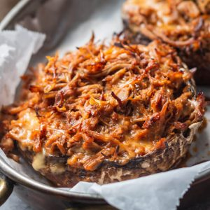 Pulled Pork Stuffed Portobello Mushrooms
