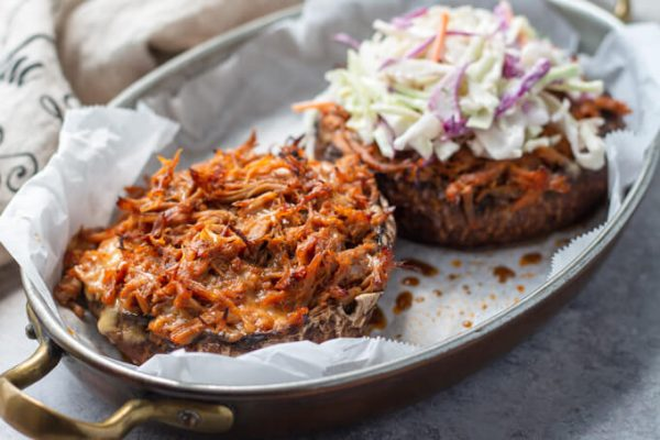 Pulled pork keto stuffed portobello mushrooms with slaw