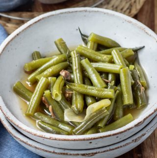 Southern style green beans with pork and broth.
