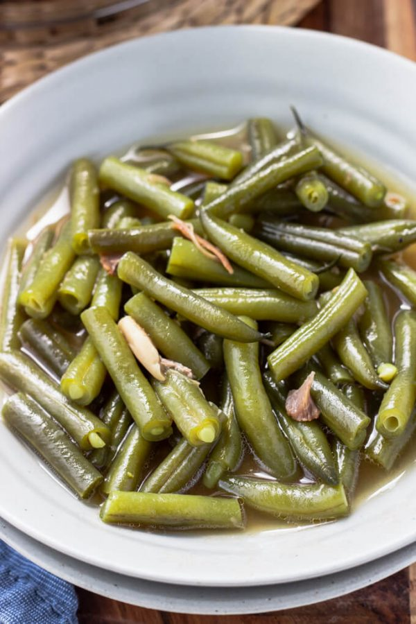 Serving of southern green beans with pork in broth.