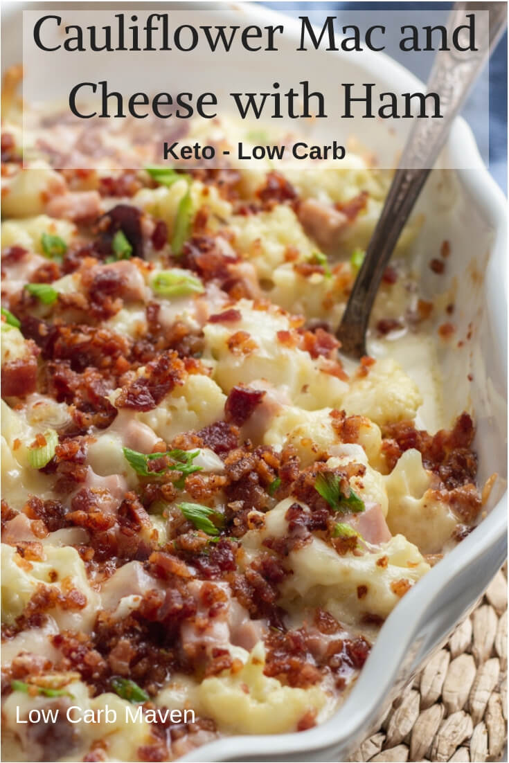 Tender cauliflower and cubed ham in a creamy cheese sauce topped with crispy bacon. This low carb and keto recipe is easy, cheesy and delicious!