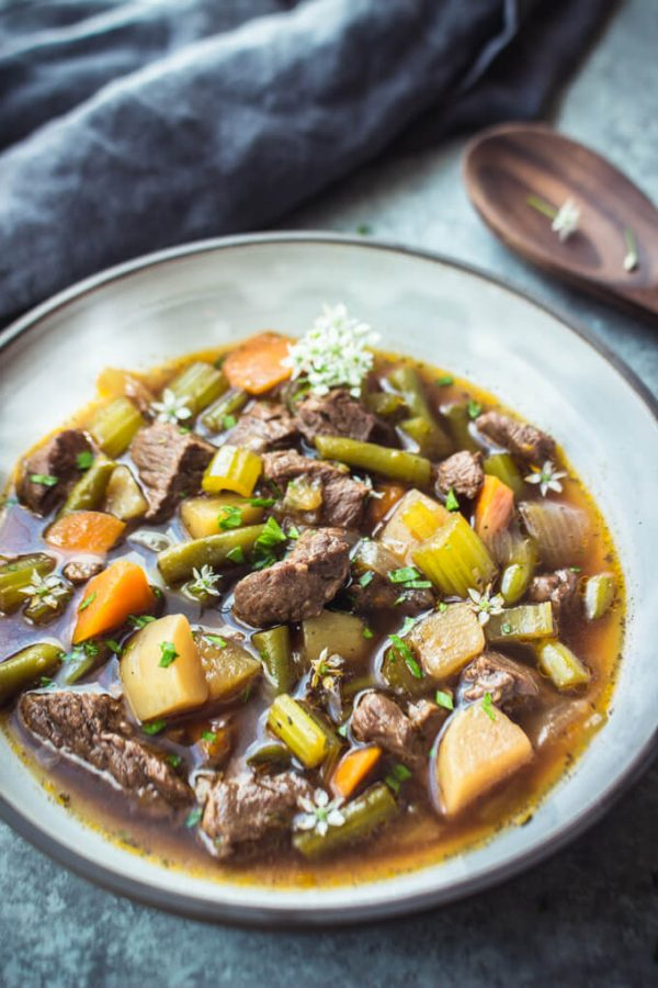 Hearty Vegetable Beef Soup made in the Instant Pot. #soup #instantpot #vegetablebeef #beef #lowcarb #keto