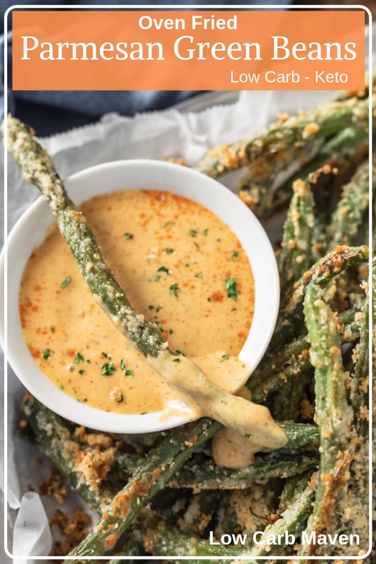 Oven fried Parmesan green beans with sweet mustard dipping sauce. #parmesangreenbeans #greenbeansrecipe #easy
