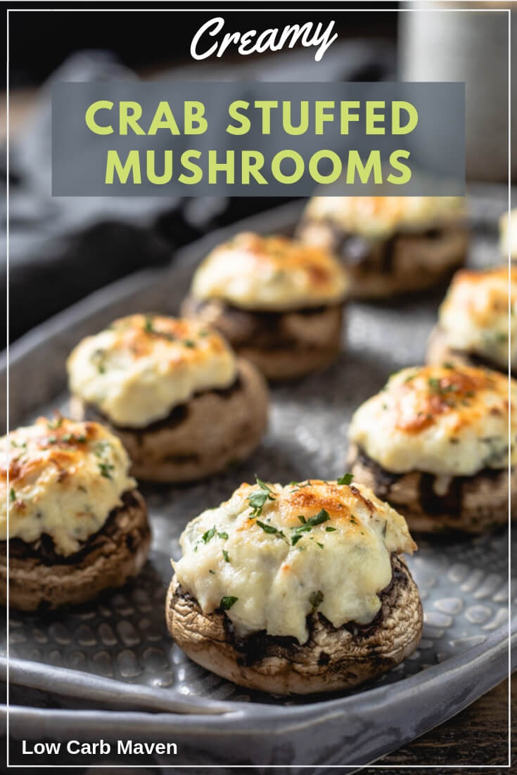 Creamy Crab Stuffed Mushrooms make tasty low carb appetizers, snacks or a lite lunch.