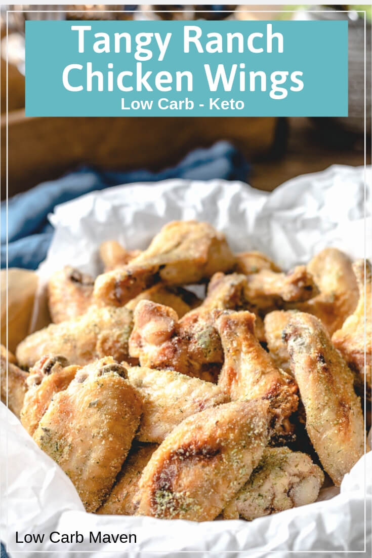 Tangy Ranch Chicken Wings bake in the oven and are out-of-this-world tasty. #ranchchicken #chickenwings #lowcarb #keto
