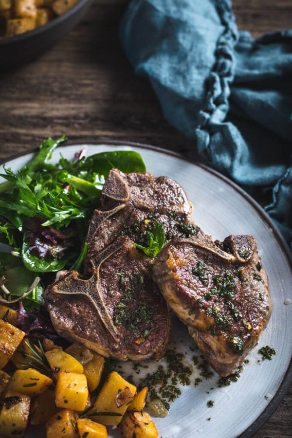Lamb With Mint Sauce and Rosemary Roasted Rutabaga - a tasty low carb keto meal.