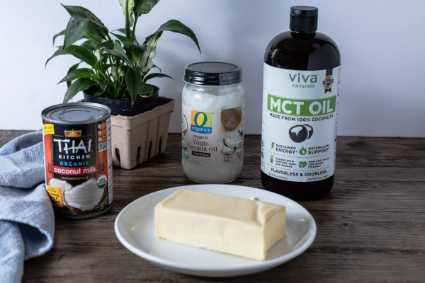 Healthy fats for bulletproof coffee, bulletproof tea, and butter coffee: full-fat coconut milk, butter, coconut oil and MCT oil.
