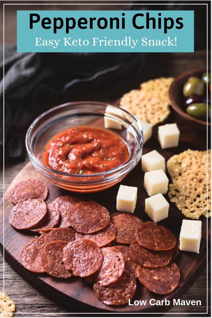 Pepperoni Chips make a great keto snack or dipper! #pepperonichips #baked #microwave #lowcarbchips