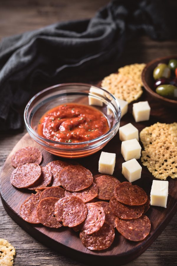 Pepperoni Chips make a great keto snack or dipper! #pepperonichips #baked #microwave