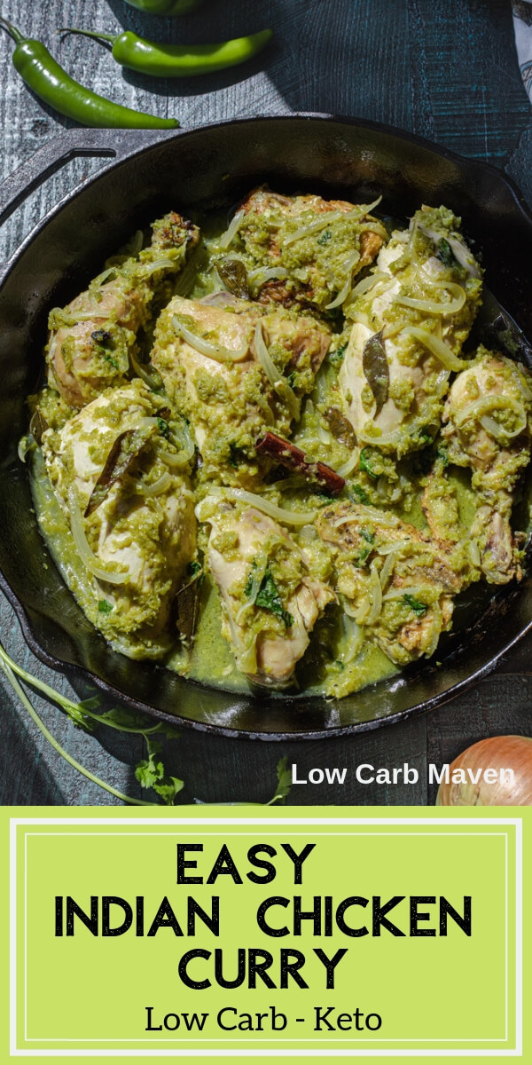 This easy Indian chicken curry is healthy and fresh. Ready in 30 minutes, it\'s low carb and keto, too.