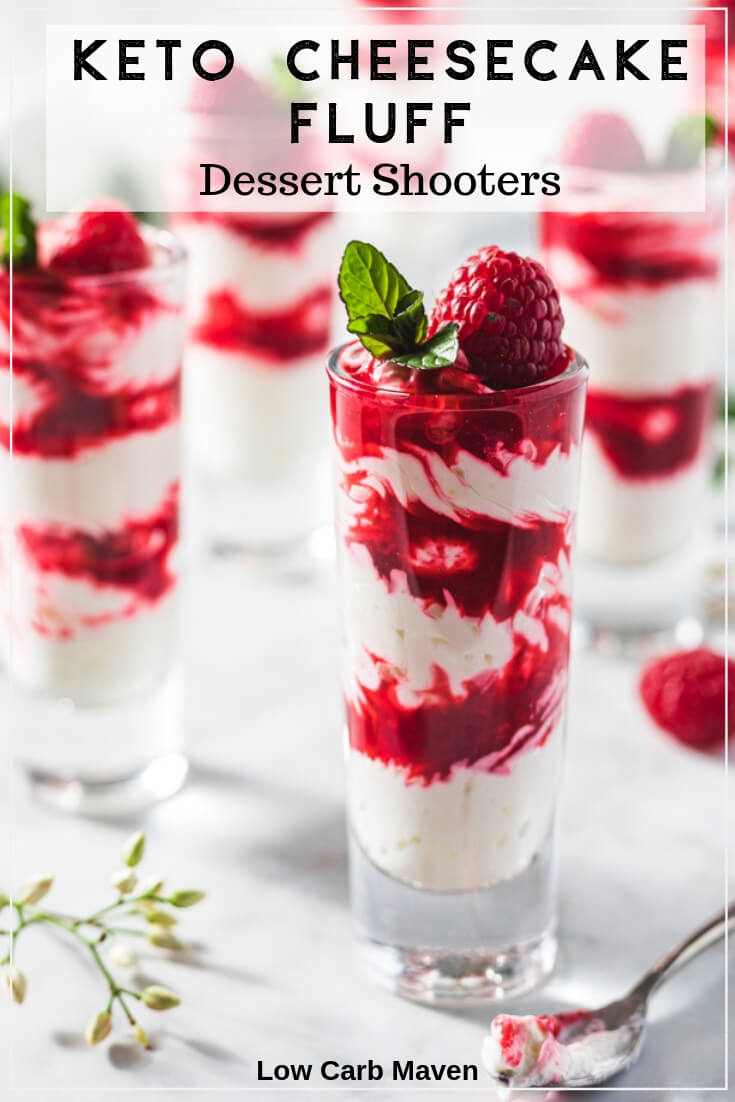 Creamy Raspberry Cheesecake Fluff Dessert Shooters are the perfect small ending to a keto or low carb meal.