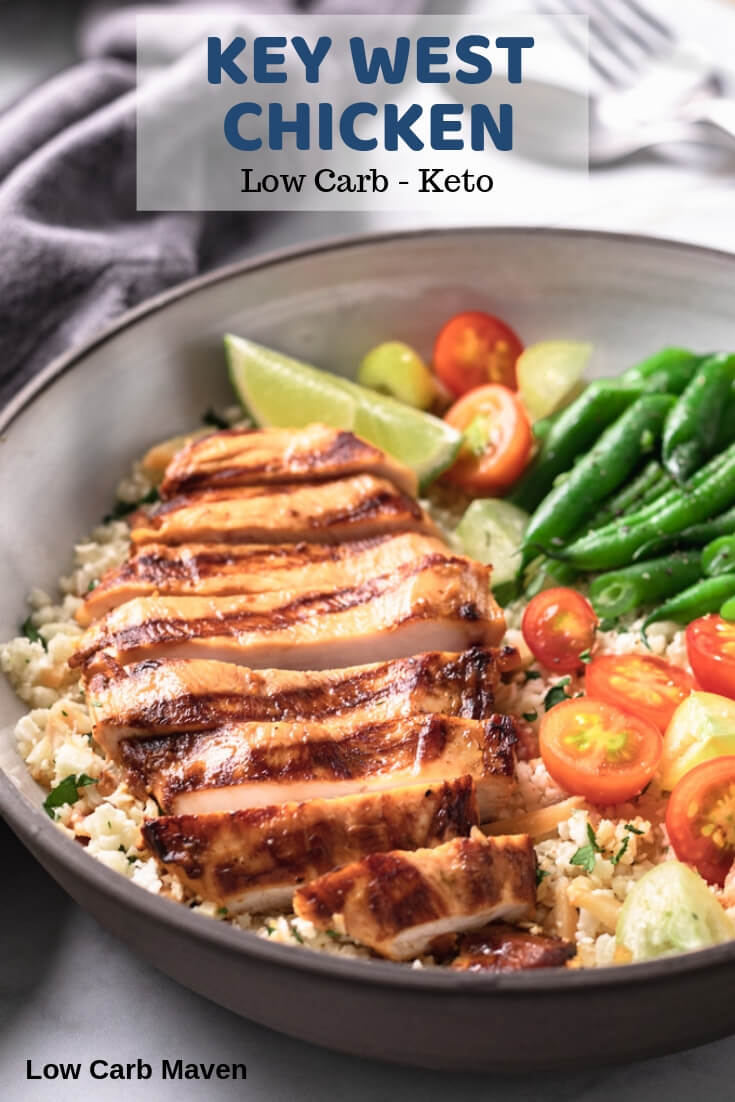 An easy marinade makes the best grilled Key West Chicken low carb for keto diets.