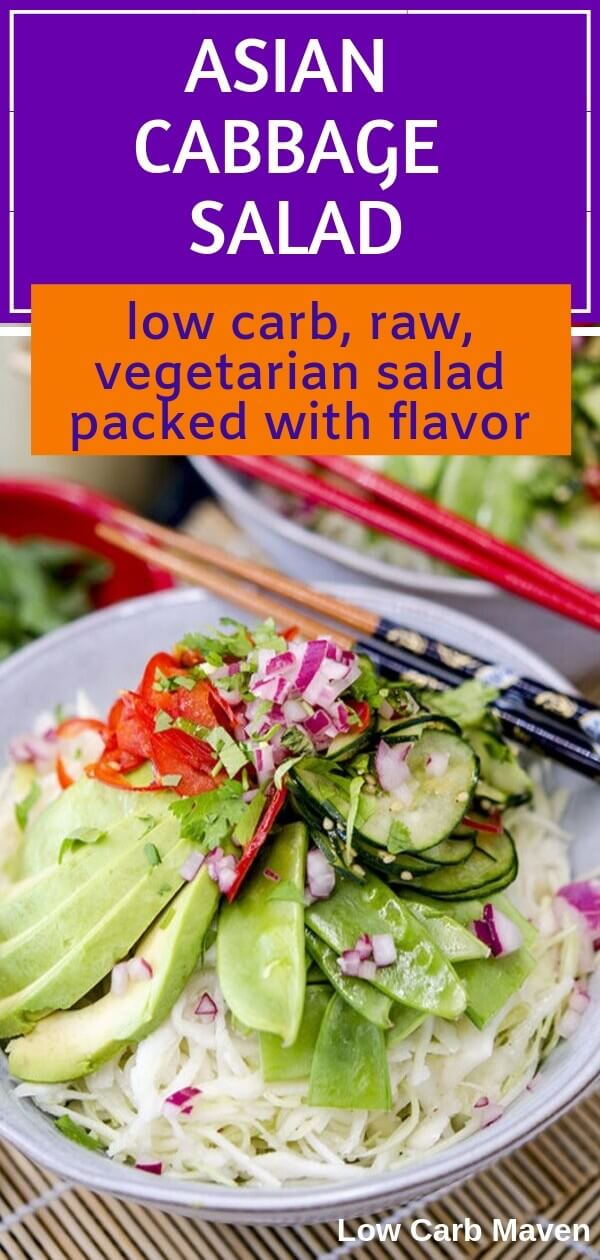 Low carb Asian Cabbage Salad is raw vegetarian salad packed with superfoods like avocado, chilies, ginger, garlic, cabbage, cucumber and tossed with a coconut oil dressing.