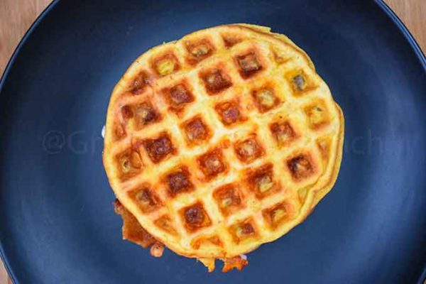 The top of a chaffle sandwich