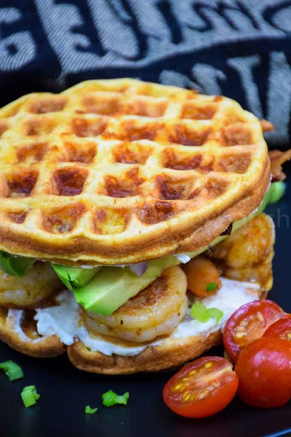 Cajun Shrimp and Avocado Chaffle Sandwich