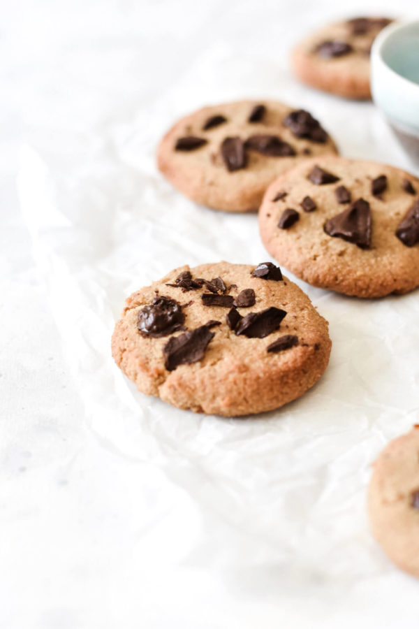 coconut flour cookies with chocolate chunks
