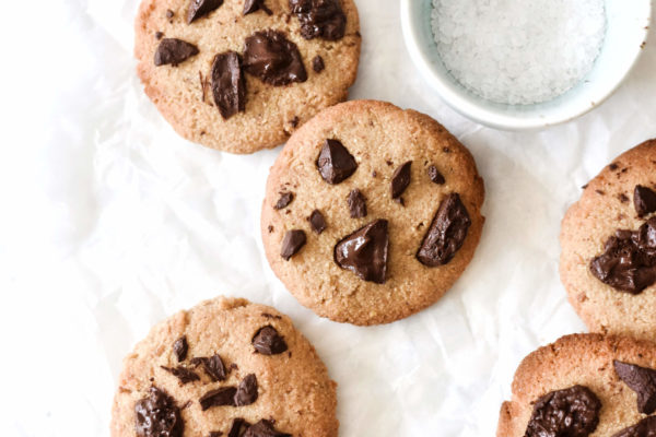 a close up of coconut flour chocolate chip cookies