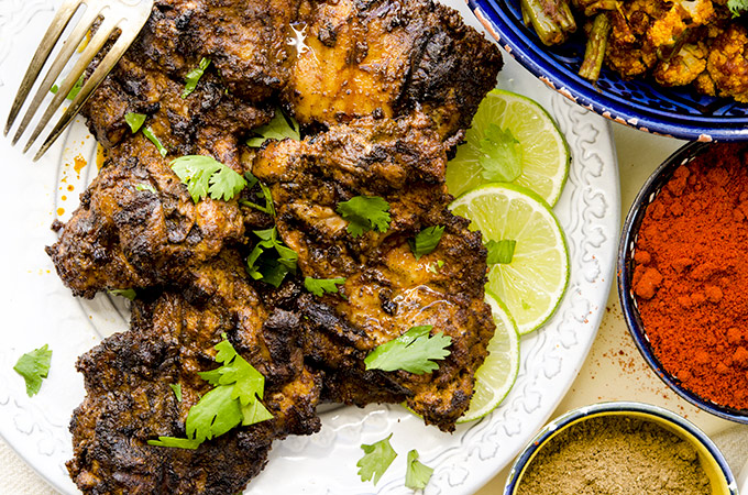 grilled tandoori chicken with Indian Roasted Vegetables