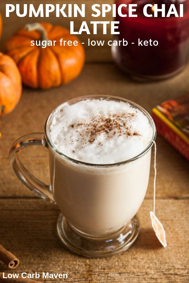 Pumpkin Spice Latte and Chai Latte unite in one fantastic sugar free drink. This Pumpkin Spice Chai latte is low carb and won\'t ruin your keto macros like it\'s famous originals.