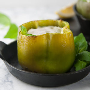Pesto Keto Chicken Stuffed Peppers