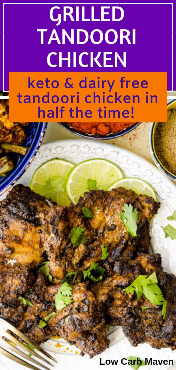 Melt-in-your-mouth grilled tandoori chicken that takes half the time. No yogurt means it\'s dairy-free and won\'t stick to the grill! Low carb keto recipe.
