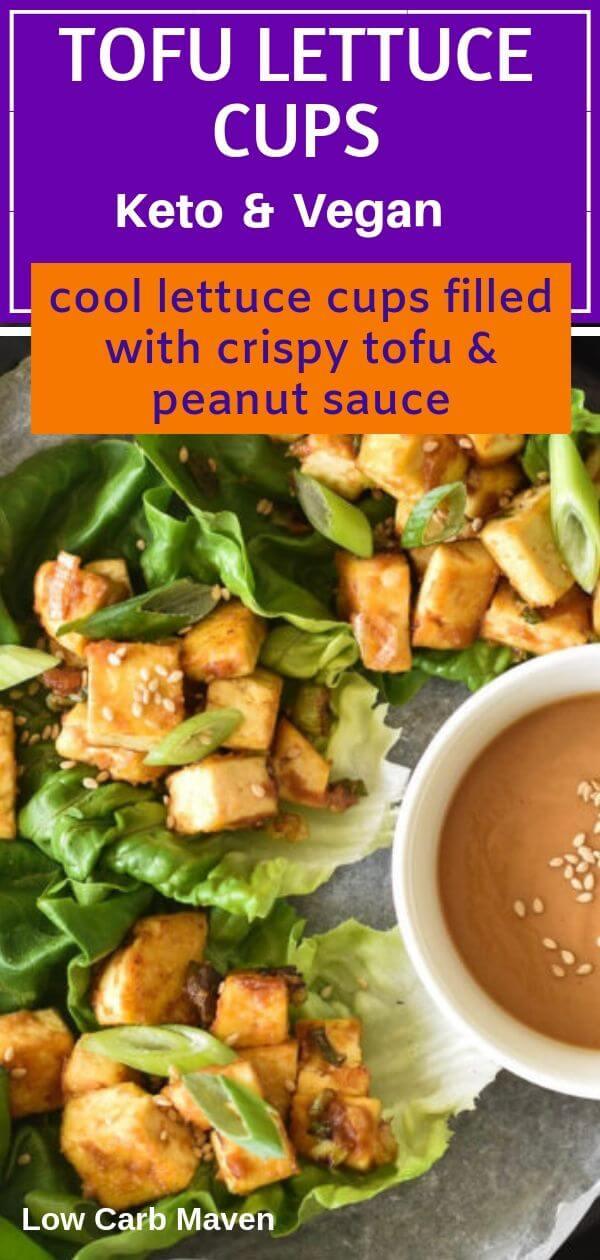 Crisp, lettuce cups filled with crispy tofu and an easy sugar-free peanut sauce. This easy keto vegan meal is perfect for a low carb lunch or a light meal.