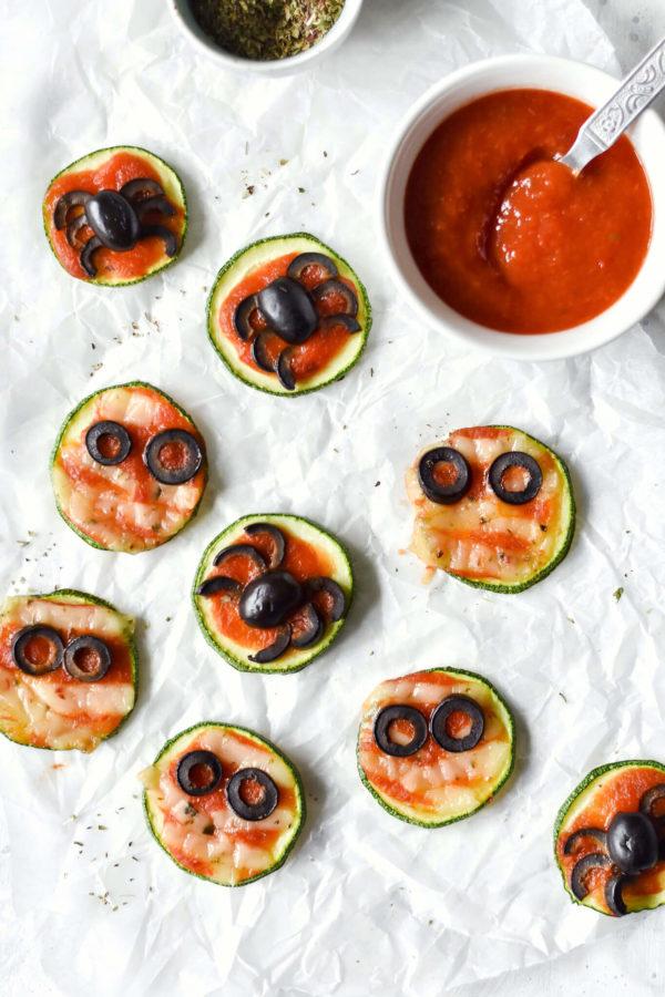 Halloween Zucchini Pizzas (Vegan)