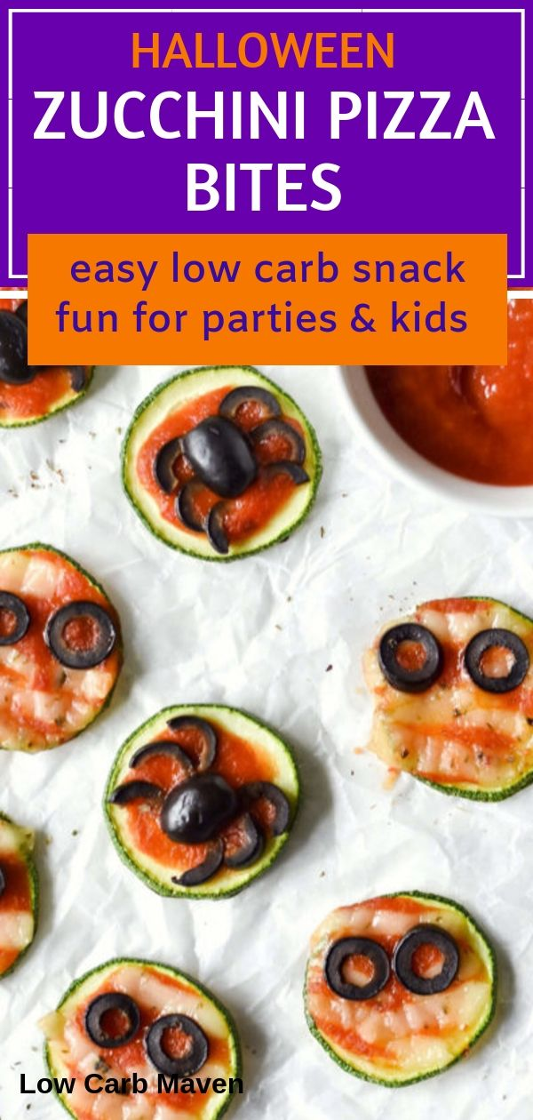 Low Carb Zucchini Bites make keto snacking a breeze. Kill that pizza craving with cute Halloween party themed appetizers for the whole family. Vegan option.
