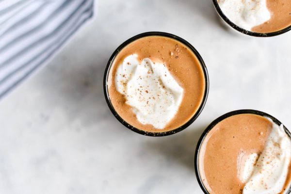 Keto pumpkin spice latte milkshakes with whipped cream