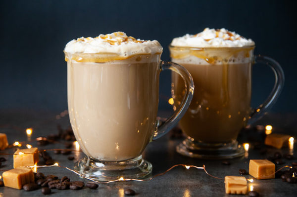 Sugar Free Caramel Brulee Lattes on black with caramels and lights