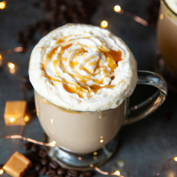 Top the sugar free caramel brulee lattes with low carb whipped cream.