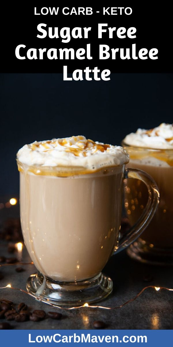 Enjoy this Sugar free Caramel Brulee Latte on a chilly holiday evening. Whipped cream and sugar free caramel sauce make this low carb drink extra special. Booze it up with flavored vodka or brandy for an extra kick.
