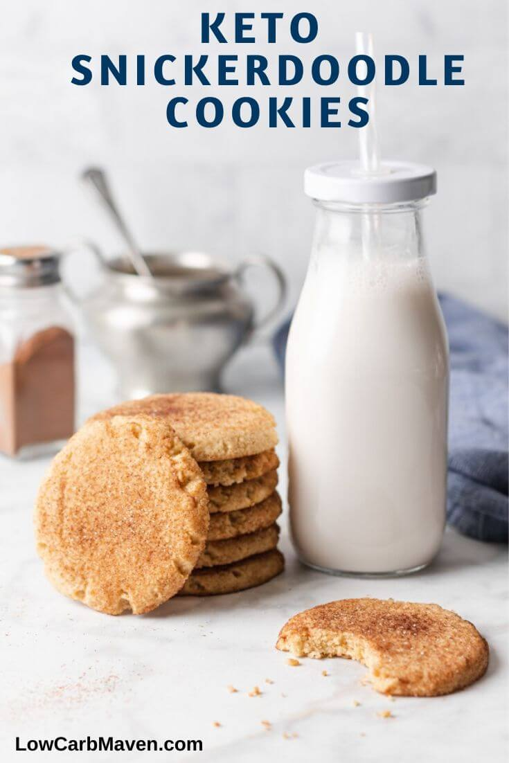 These Keto Snickerdoodle Cookies have the perfect sugar cookie texture and a delicious cinnamon sugar coating. Almond flour keeps these gluten free cookies low carb while erythritol and stevia keep them sugar free!