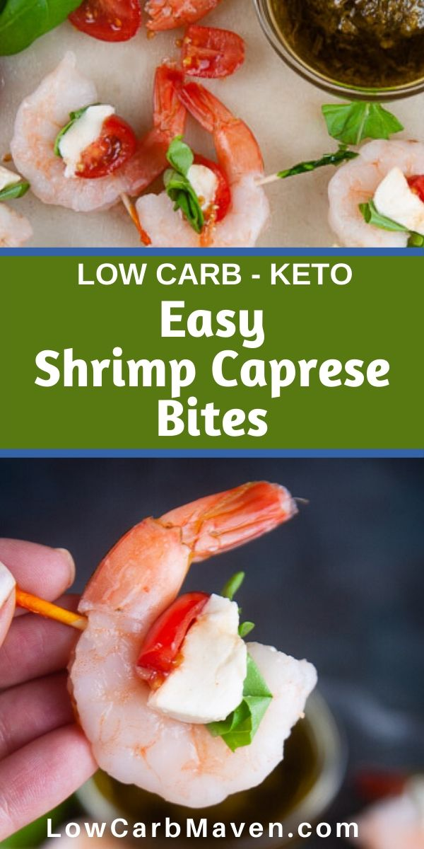 Cooked shrimp, tomatoes, mozzarella cheese and basil make the easiest low carb appetizer! Serve these shrimp caprese bites at your next gathering. Your keto friends will love you!