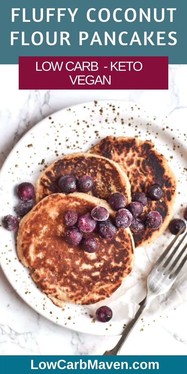 Coconut Flour Pancakes are a great addition to a low carb keto diet. This vegan pancake recipe has no eggs and is sugar free. Look for nut free suggestions in the post.