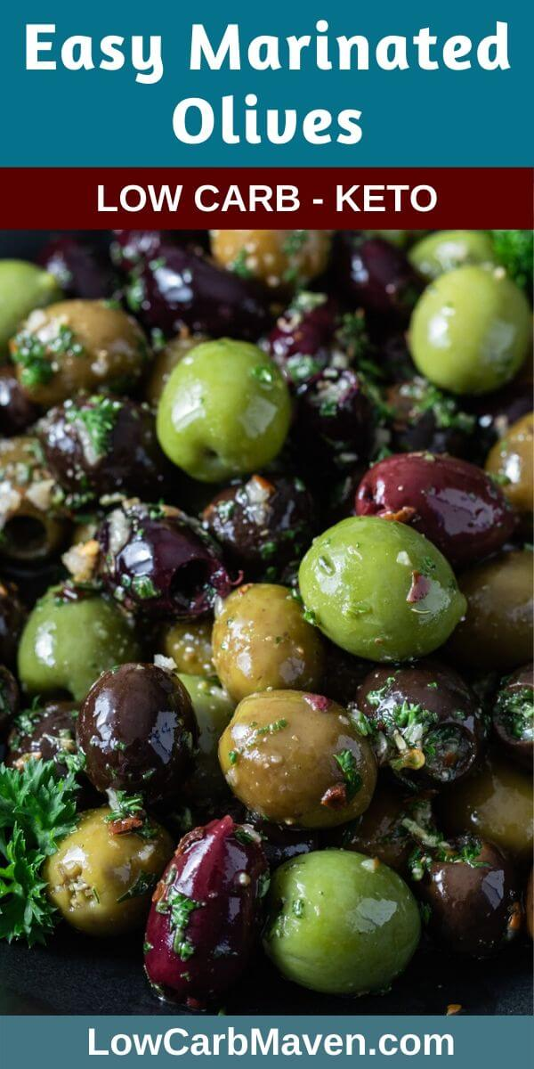 This easy Marinated Olives appetizer recipe is full of delicious Mediterranean flavor. Fresh herbs, spices, garlic and olive oil combine to create a savory low carb snack perfect for cheese platters and charcuterie boards.