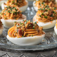 Spicy chipotle keto deviled eggs with bacon
