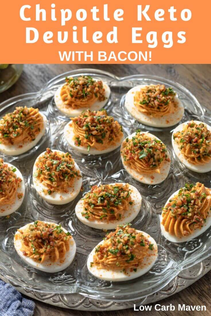 Spicy chipotle deviled eggs with bacon are smoky with a great tang. Cilantro gives them an herby bite. This easy keto recipe will become a favorite snack or appetizer for your low carb table.