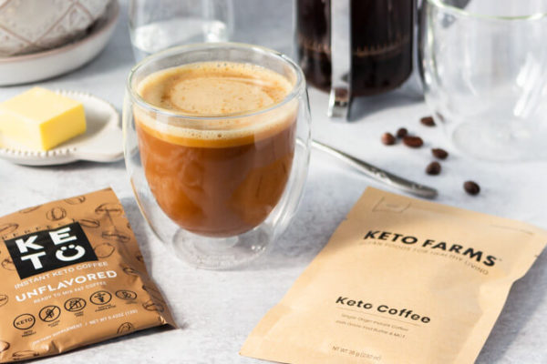 Keto butter coffee with instant keto coffee packets