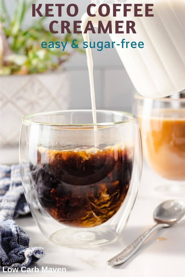 Make homemade keto coffee creamer to replace that store-bought brand. This easy sugar free recipe is rich & creamy. Customize your creamer with sweeteners & flavors.