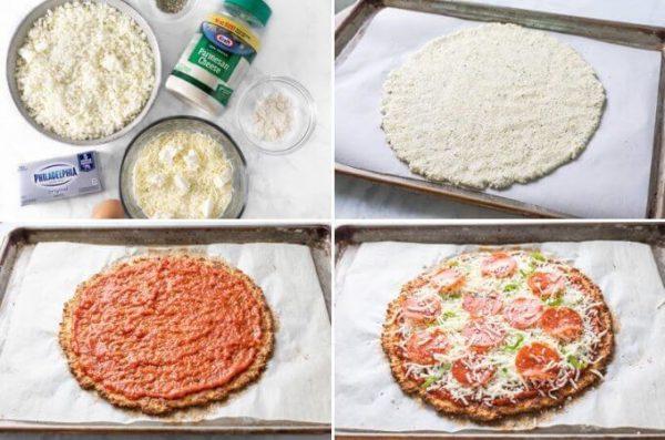 Keto cauliflower pizza crust pizza with mozzarella and pepperoni cut into slices